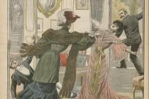 Osudná obálka. Rozzuřená mladá dáma stojí na prahu přepychového salonu. Míří revolverem na jinou mladou dámu, která se kácí... Fámu rozšířil 20. prosince 1903 pařížský deník Petit Journal.