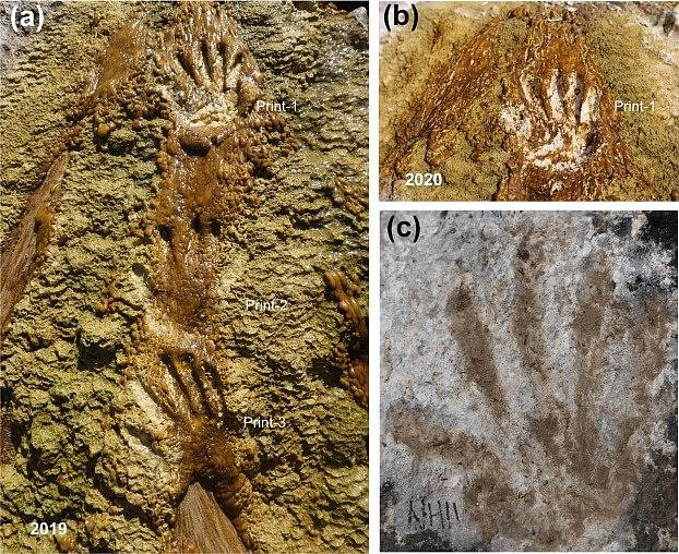 Otisky dětských rukou a nohou objevené v tibetském Quesangu