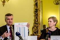 Ministryně školství Kateřina Valachová a ústřední školní inspektor Tomáš Zatloukal představili 29. listopadu v Praze výsledky mezinárodního šetření TIMSS 2015.