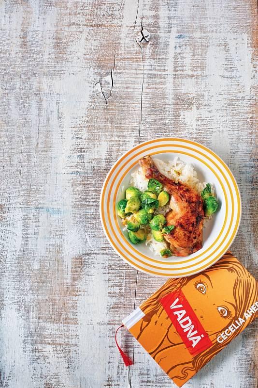 Česnekové kuře s rýží a kapustičkami
