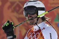 Ondřej Bank v cíli obřího slalomu kousl do hůlky. Nechtěl ji vzteky hodit mezi diváky.