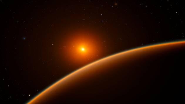 """Umělecká představa exoplanety LHS 1140b, obíhající kolem hvězdy typu červený trpaslík, jež aspiruje na titul """"nejlepší k hledání známek života mimo sluneční soustavu"""""""