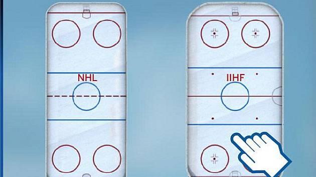 Srovnání hokejových hřišť NHL a IIHF.