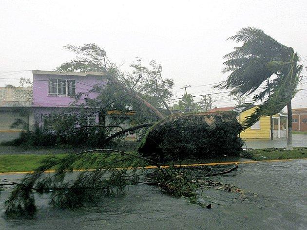 Vichrem a deštěm bičovaná ulice mexického města Chetúmalu.