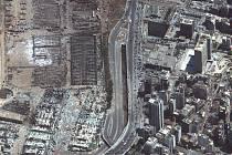 Pohled na explozi v libanonském Bejrútu ze satelitního snímku, 5. srpna 2020