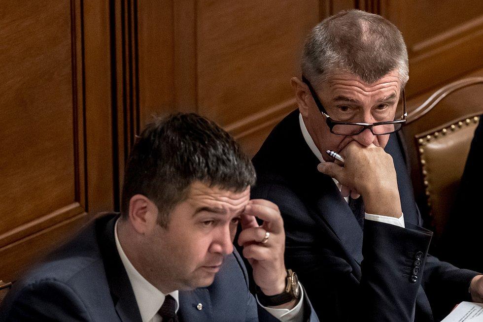Hlasování o důvěře vlády Andreje Babiše 11. července v Poslanecké sněmovně v Praze. Jan Hamáček, Andrej Babiš