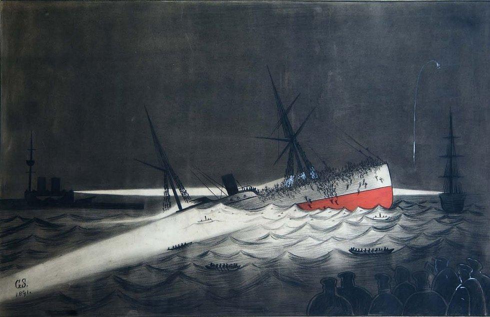Potopení Utopie v Gibraltarském zálivu, jak je ztvárnila Georgina Sheriffová. Obraz ze sbírek Gibraltarského muzea