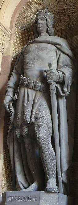 Dalším panovníkem podezřelým z objednávky Václavovy vraždy je Albrecht I. Habsburský (na snímku jeho socha ve Špýrské katedrále)