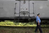 Chladící vagón s ostatky pasažérů malajsijského boeingu.