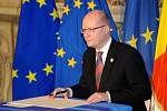 Bohuslav Sobotka na setkání lídrů států Evropské unie.