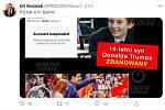 Tweet Jiřího Ovčáčka, jímž reagoval na údajnou blokaci účtu Trumpova syna