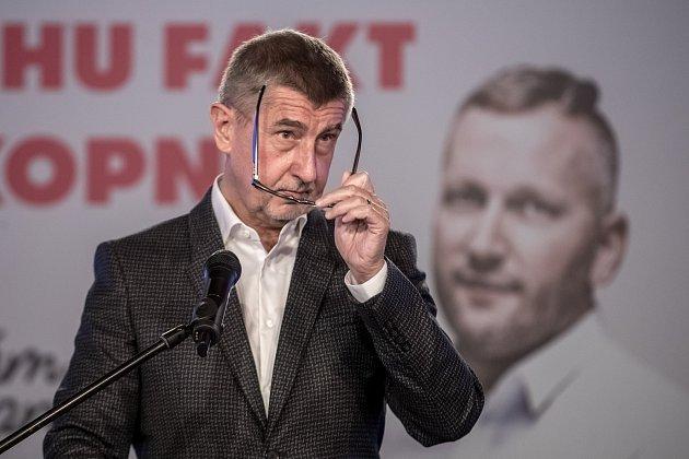 Volební štáb ANO při volbách do zastupitelstev obcí a senátu 6. října v Praze. Andrej Babiš