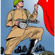 Dobová ilustrace k bitvě u Stalingradu