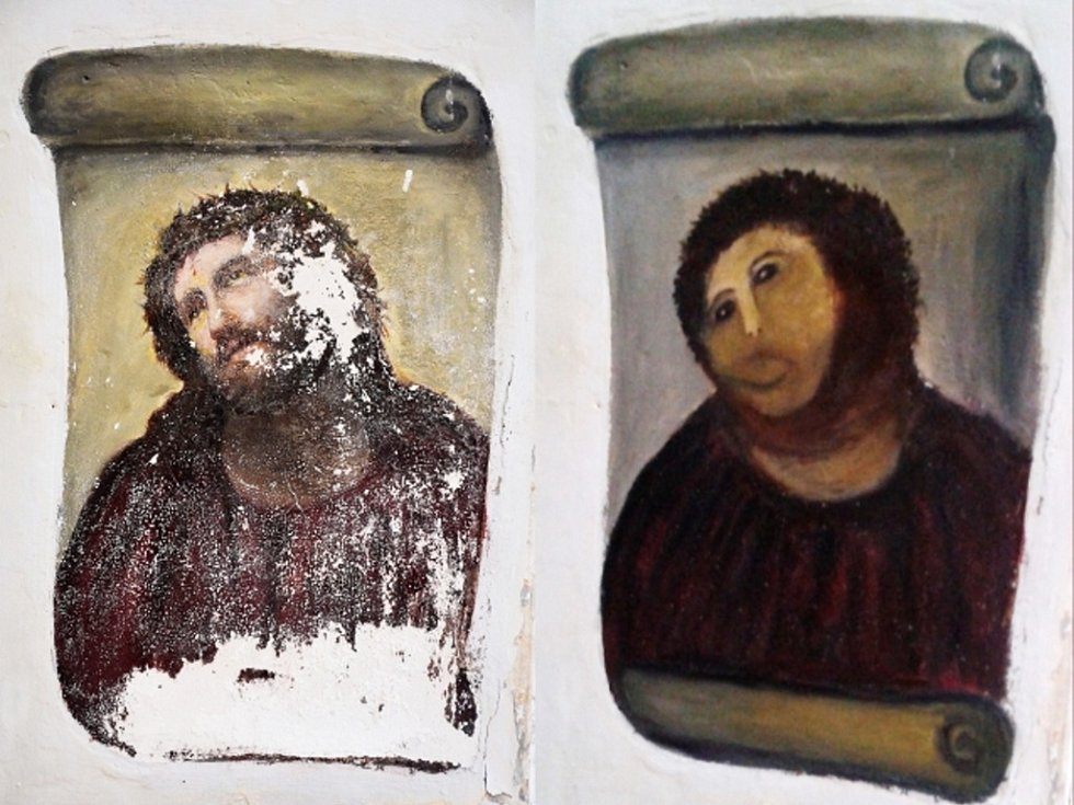 """Postarší věřící šokovala španělské kulturní činitele, když se na vlastní pěst chopila restaurátorského štětce, aby """"opravila"""" fresku Ježíše Krista."""