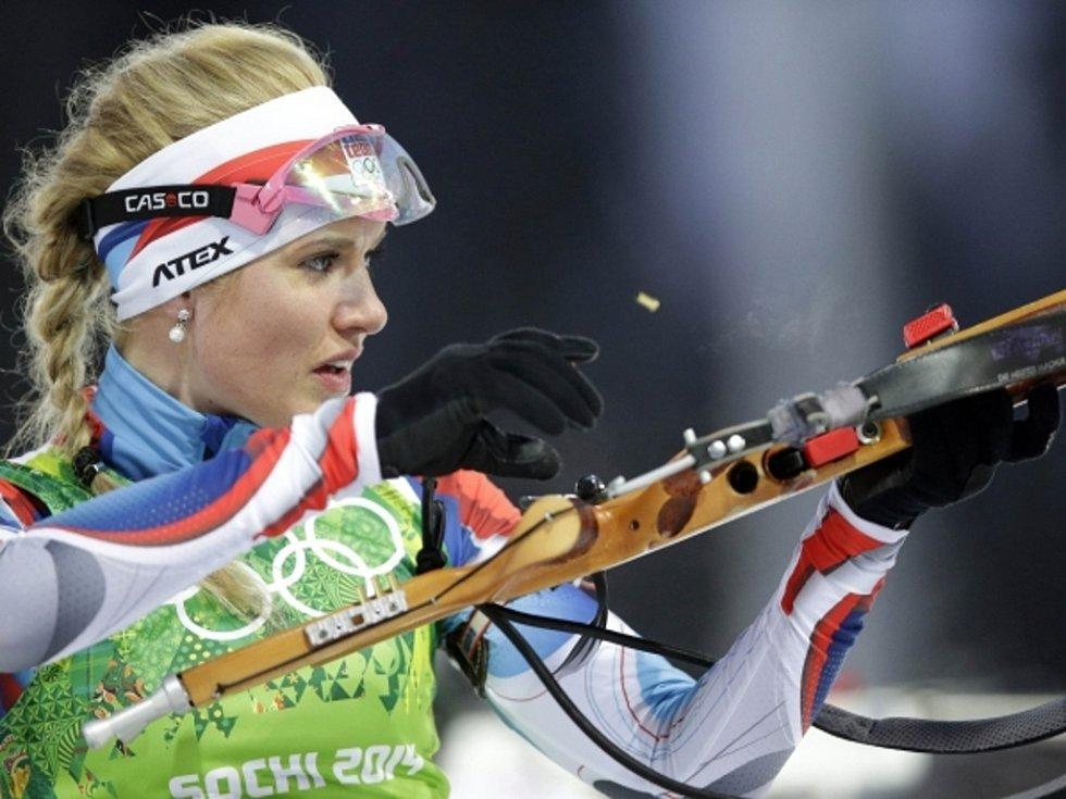 Biatlonistka Gabriela Soukalová pomohla smíšené štafetě ke stříbru na olympijských hrách v Soči.