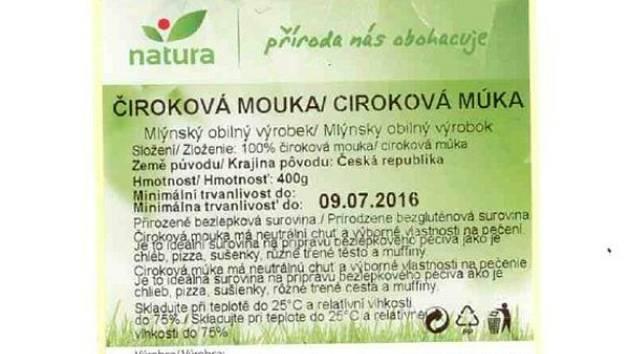 Varování se týká také čtyřsetgramové mouky značky Natura s trvanlivostí do 2. prosince 2015, respektive 9. července 2016.