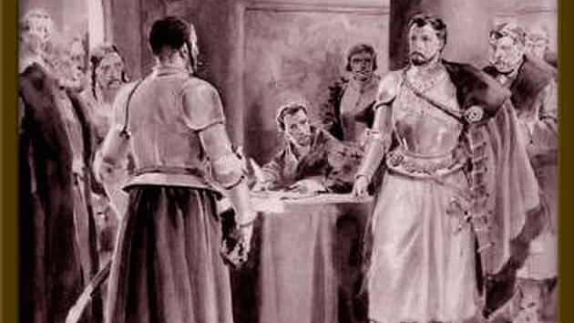 Jan Jiskra z Brandýsa mezi hejtmany, obraz Jana Gotha