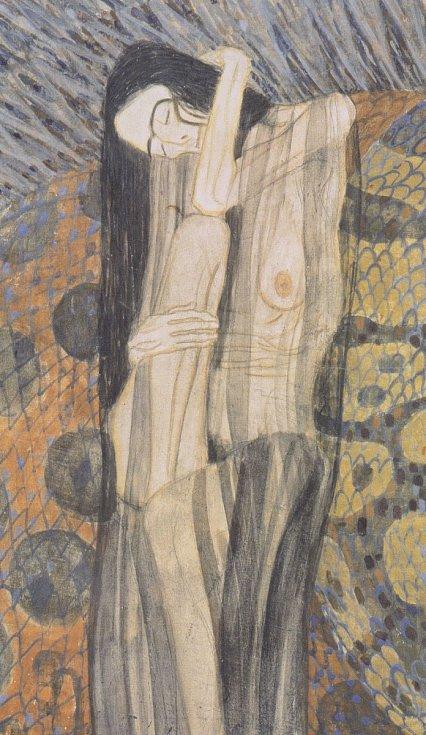 Gustav Klimt: Trýznivý smutek, detail