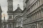 Vinohradská synagoga na dobové pohlednici z roku 1910