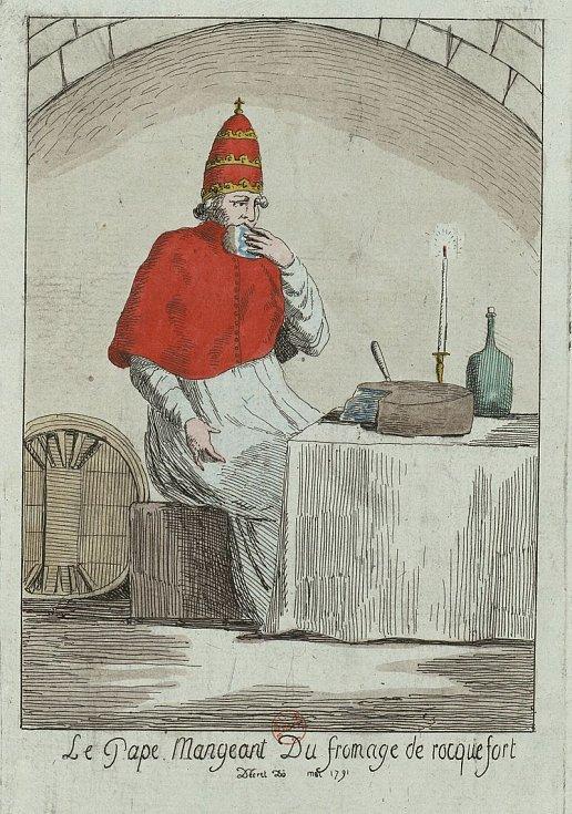 Papež při konzumaci sýra Roquefort (satirická ilustrace z roku 1791)