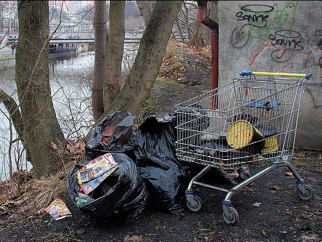 Dva dny trvalo, než se podařilo uklidit černou skládku na břehu řeky Ohře v centru Chebu, která ukrývala stovky reklamních letáků a novin.