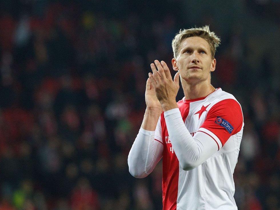 Fotbalový zápas Evropské ligy Slavia - Villarreal v Edenu. Milan Škoda.