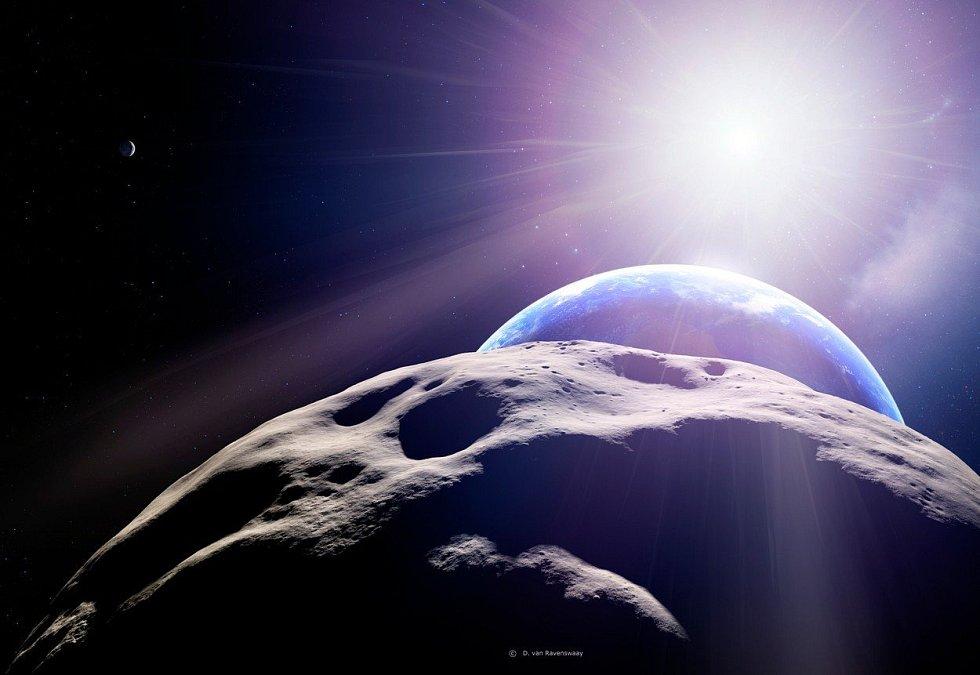 Vizualizace asteroidu v okamžiku největšího přiblížení k Zemi