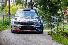 Rally Bohemia, pátý závod seriálu Mistrovství České republiky v rally. Na snímku Jan Černý a spolujezdec Petr Černohorský s vozem Škoda Fabia R5.
