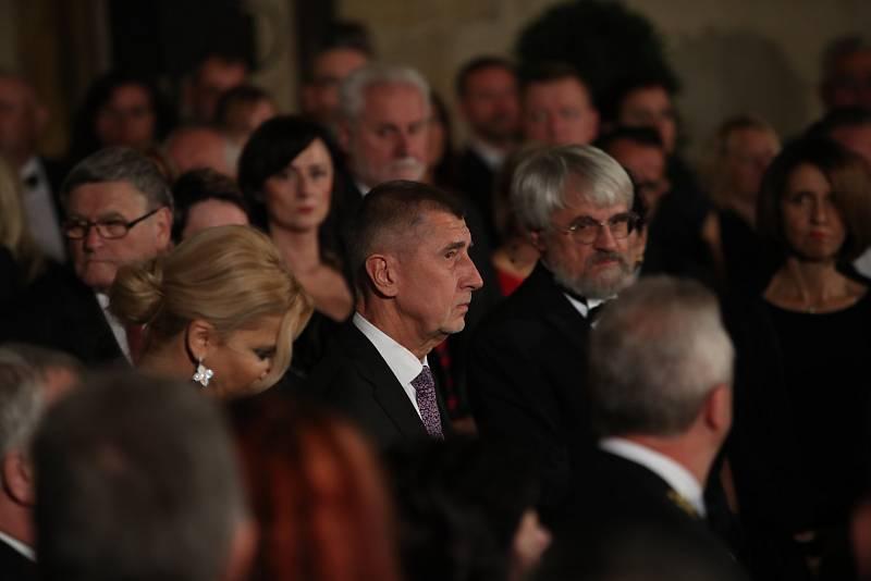 Předávání státních vyznamenání 28. října na Pražském hradě. Andrej Babiš.