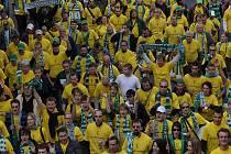 Fanoušci Bohemians 1905 dorazili na derby ve žluté.