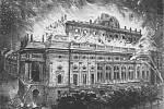 Tato ilustrace požáru Národního divadla v Humoristických listech vznikla tak, že do fotografického snímku již vyhořelé budovy domaloval neznámý tvůrce plameny