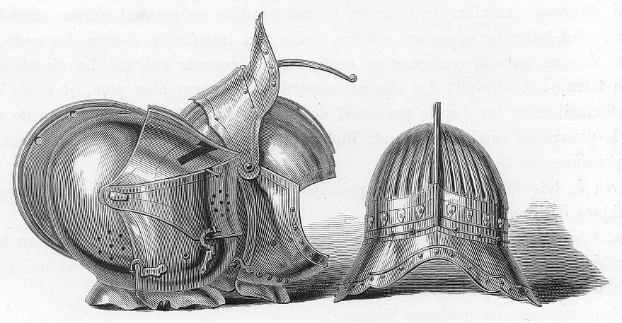 Středověká litevská přilba na romantickém zobrazení z 19. století