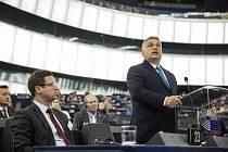 Maďarský premiér Viktor Orbán v Evropském parlamentu.