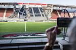 Zhroucená střecha na stadionu nizozemského AZ Alkmaar