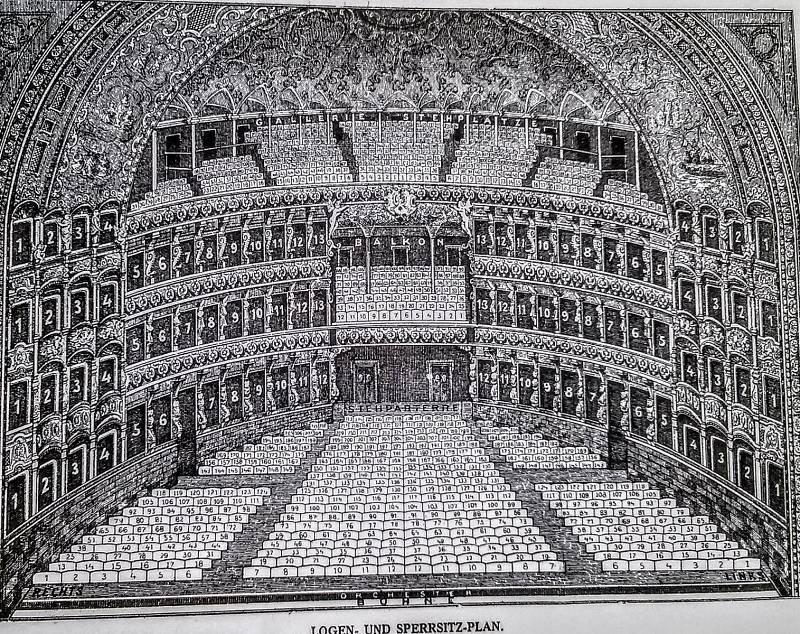 Plán hlediště Nového německého divadla v roce 1888.