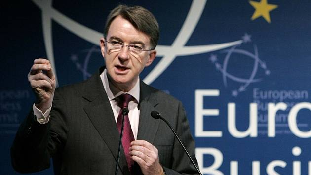 Komisař EU pro obchod Peter Mandelson