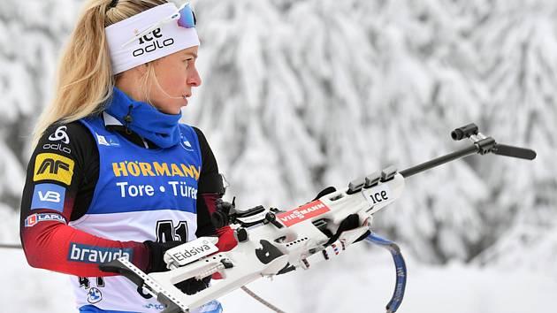 Norská biatlonistka Tirill Eckhoffová ve spintu SP v Oberhofu