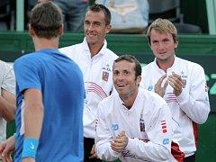 Radek Štěpánek hecuje v Argentině parťáka Tomáše Berdycha.