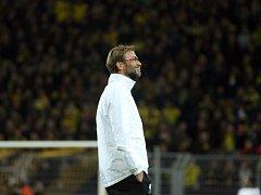 Jürgen Klopp jako kouč Liverpoolu při utkání v Dortmundu