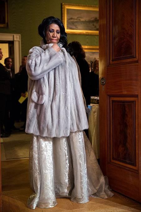 Aretha Franklinová před vystoupením v Bílém domě v roce 2015.
