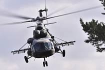 Průlet transportního vrtulníku Mil Mi-171š české armády 6. září 2018 v Náměšti nad Oslavou na Třebíčsku při mezinárodním vojenském cvičení Ample Strike 2018
