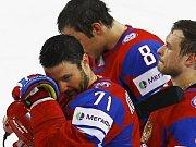 Poslední světový šampionát se Rusku nepovedl. Tak se tvářil Ilja Kovalčuk po vyřazení od Spojených států amerických.