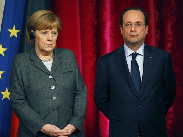 Francouzský prezident François Hollande a německá kancléřka Angela Merkelová.