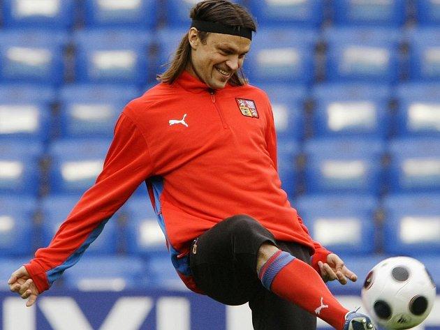 Tomáš Ujfaluši na oficiálním tréninku české fotbalové reprezentace.