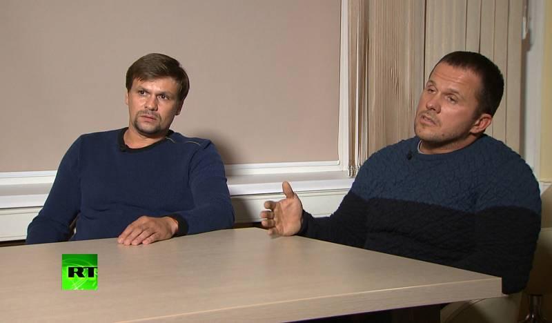 Anatolij Čepiga a Alexandr Miškin během rozhovoru ke kauze Skripal.
