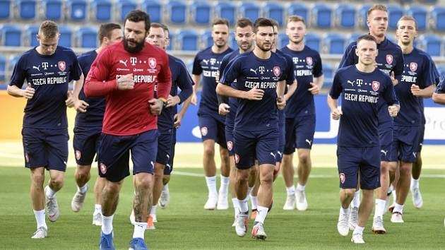 Česká fotbalová reprezentace na tréninku v Uherském Hradišti
