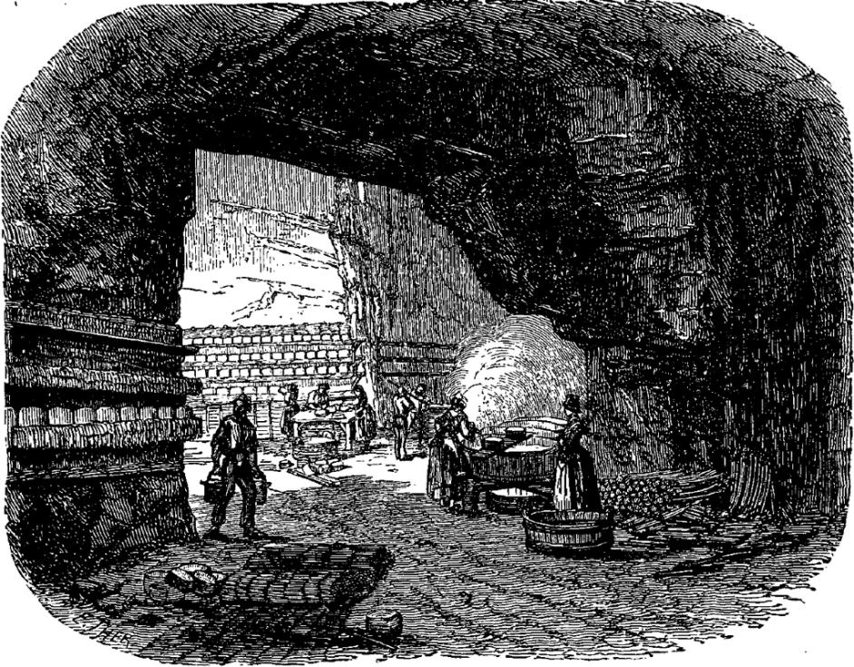 Ilustrace skalních sklepů v Roquefortu z roku 1897