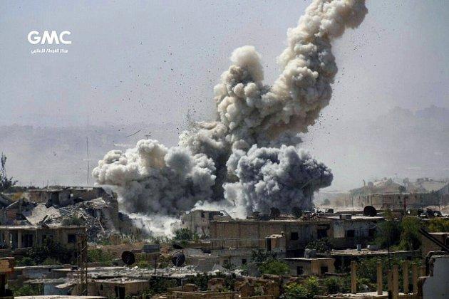 Ruský útok v provincii Idlib na severozápadě Sýrie.