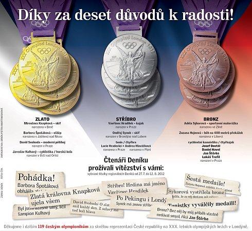 Deset medailí českých sportovců zOH.