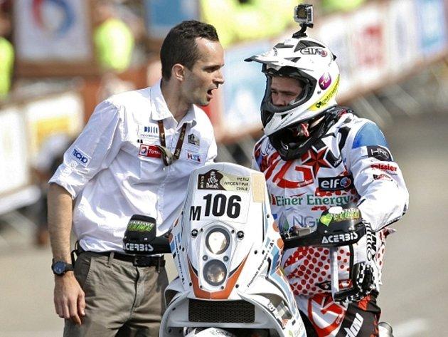 Motocyklista Thomas Bourgin na Ralley Dakar 2013.